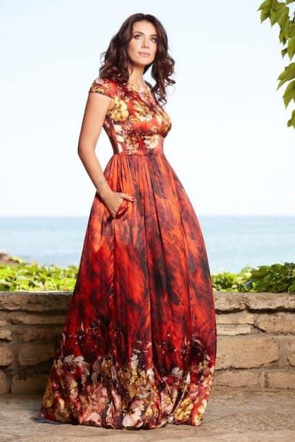 Red natural silk maxi dress