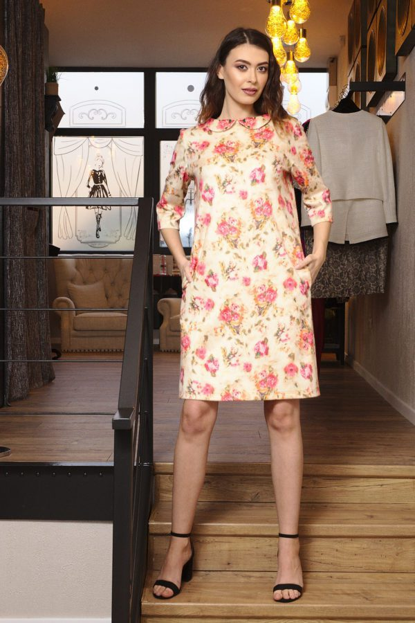 Pure cashmere dress with floral print
