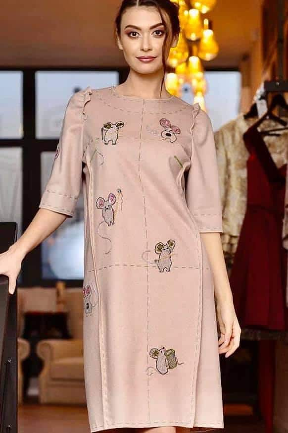 Pure cashmere dress with manual applications