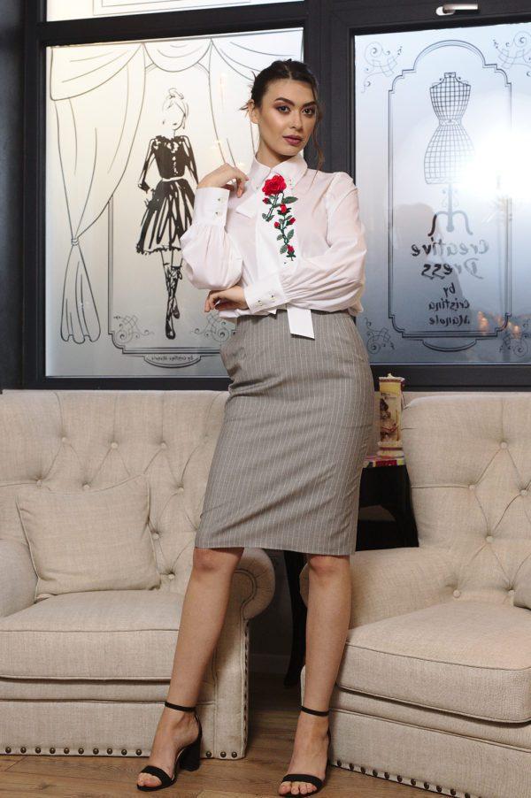 Cotton white blouse with tie