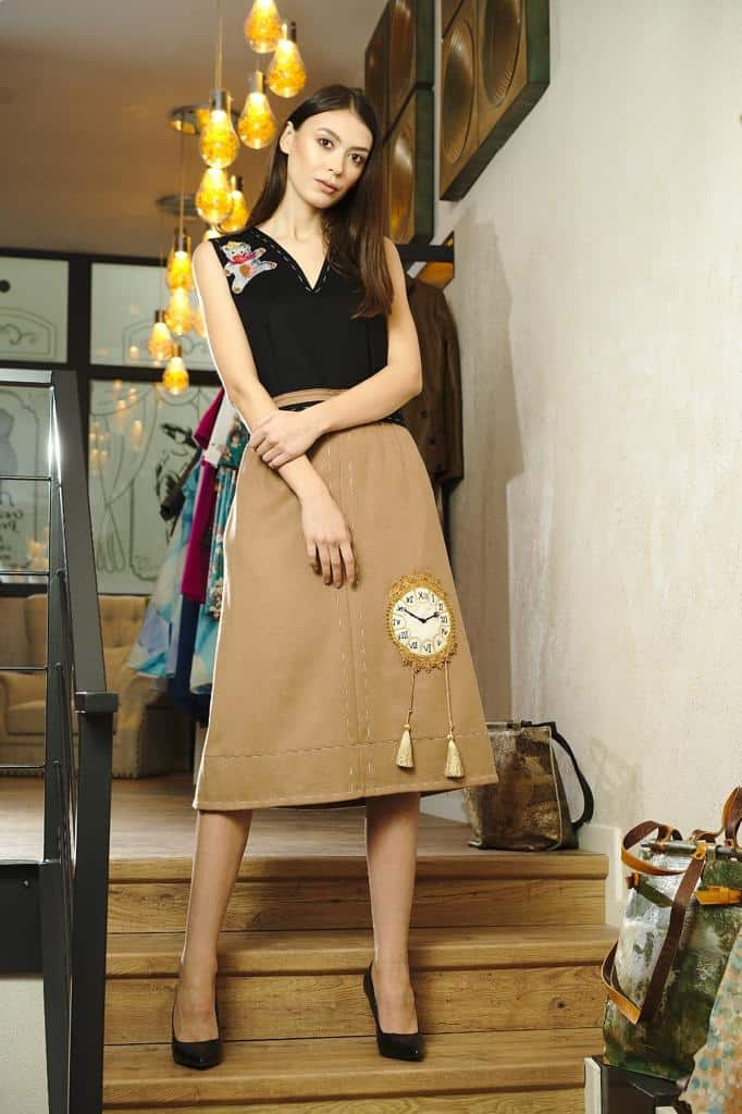 Midi dress of wool and cashmere