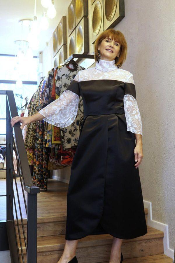 Rochie din tafta și dantelă