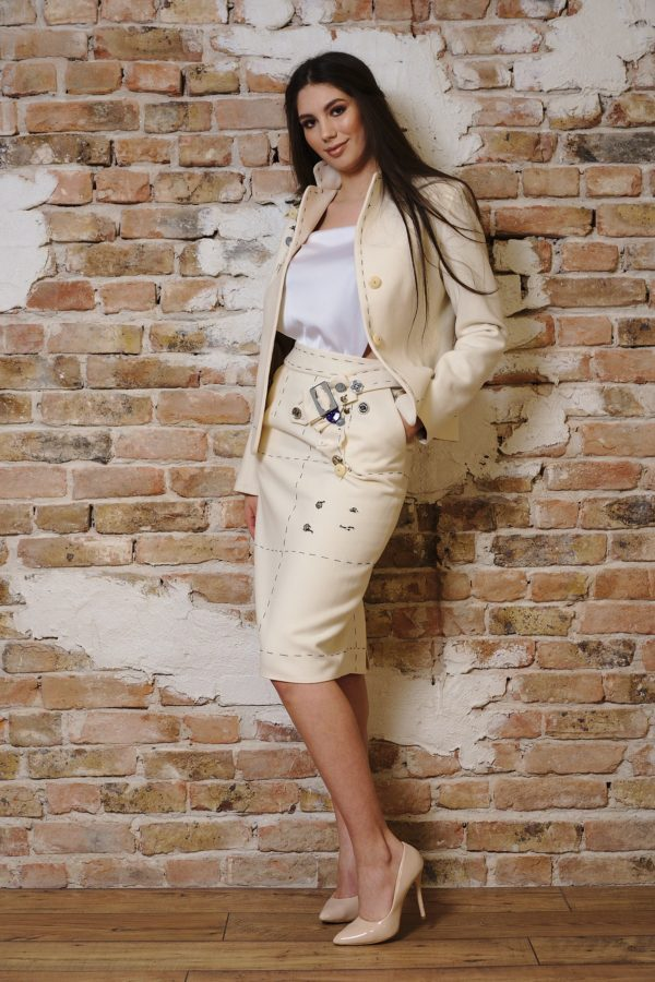 Cashmere and wool ivory suit