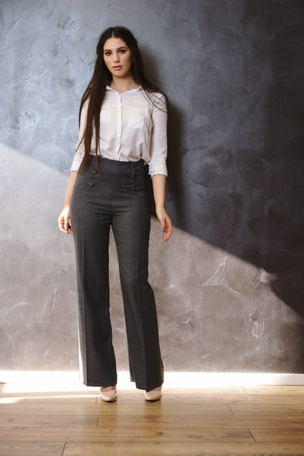 High-waisted wool trousers