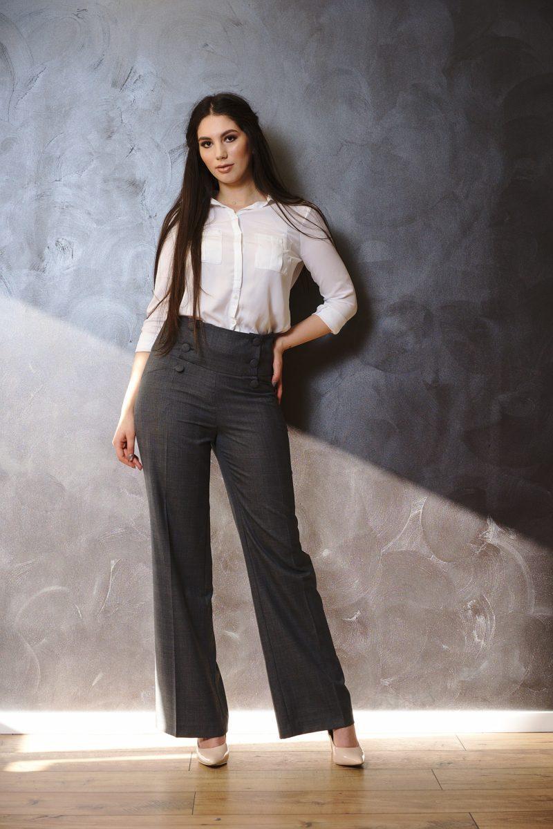 Pantalono cu talie înaltă din stofă I