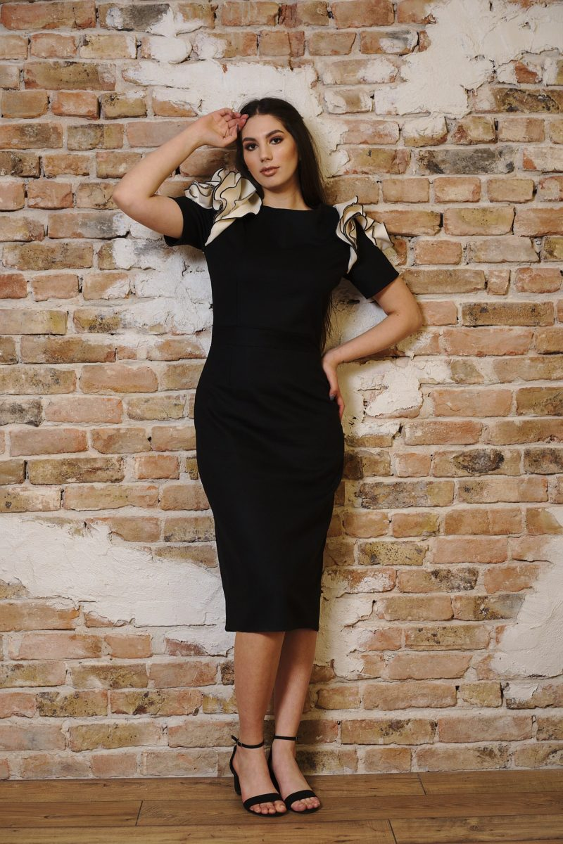 Black conical dress in wool and cashmere