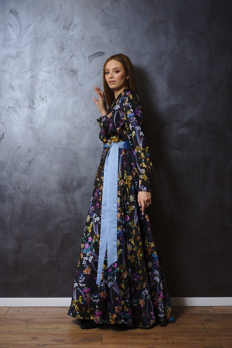 Rochie din mătase naturală imprimată I