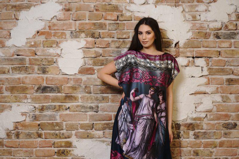 Rochie din mătase naturală imprimată VI