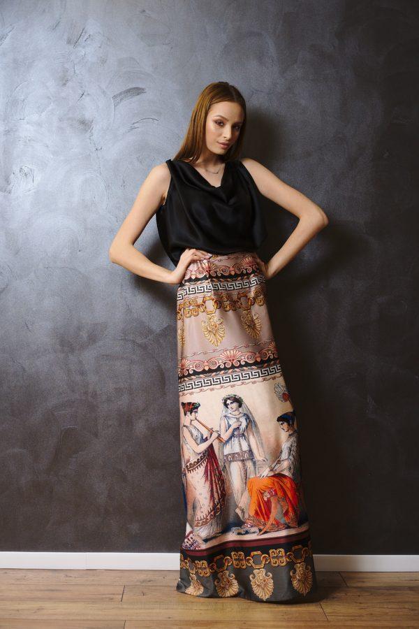 Straight maxi dress of natural silk