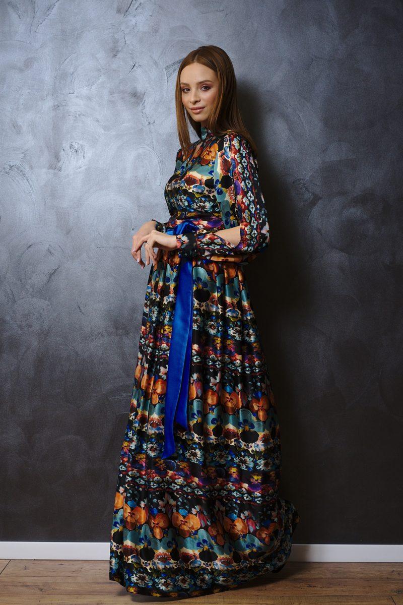 Floral printed natural silk maxi dress