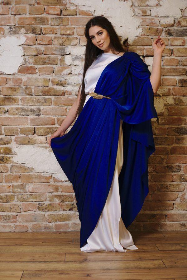 White and blue silk maxi dress