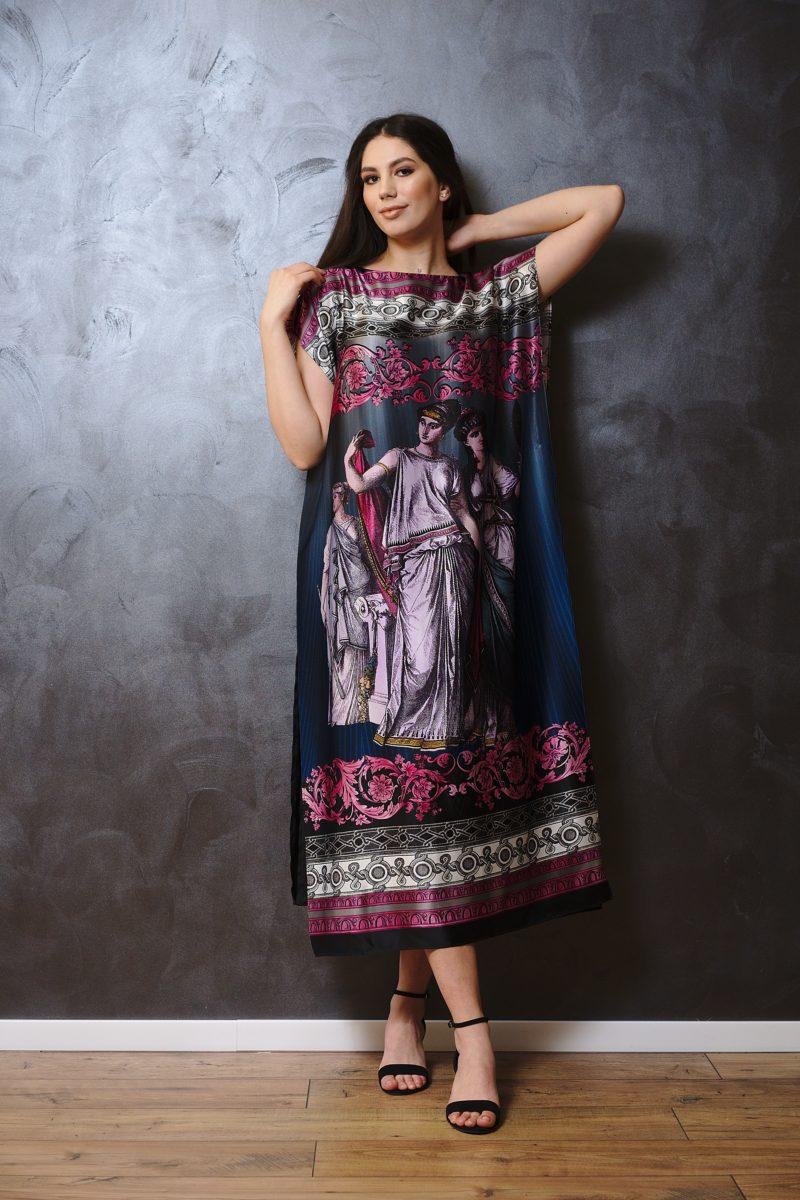 Printed natural silk midi dress