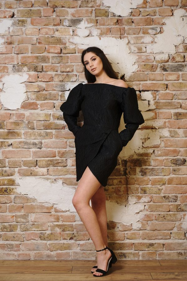 Black brocade dress