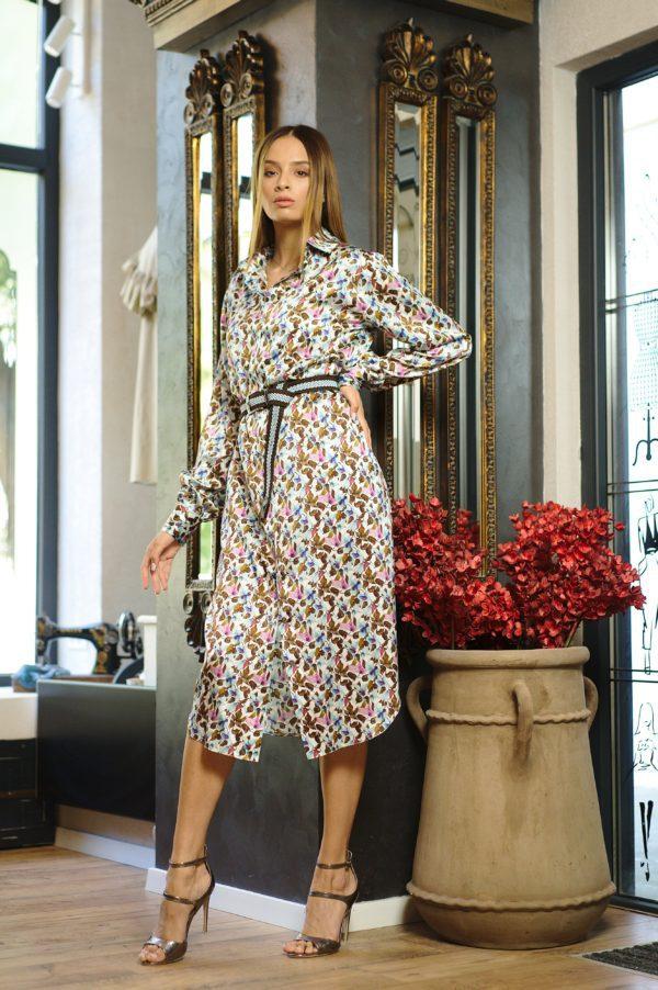 Printed natural silk shirt dress
