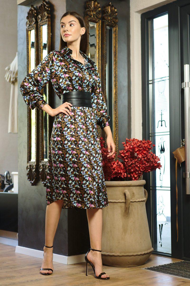 Rochie cămașă din mătase naturală imprimată I