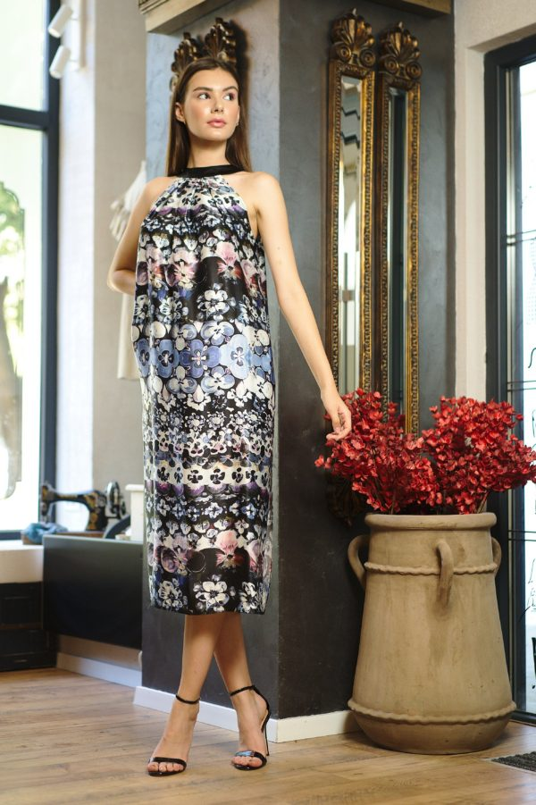Straight dress of printed natural silk