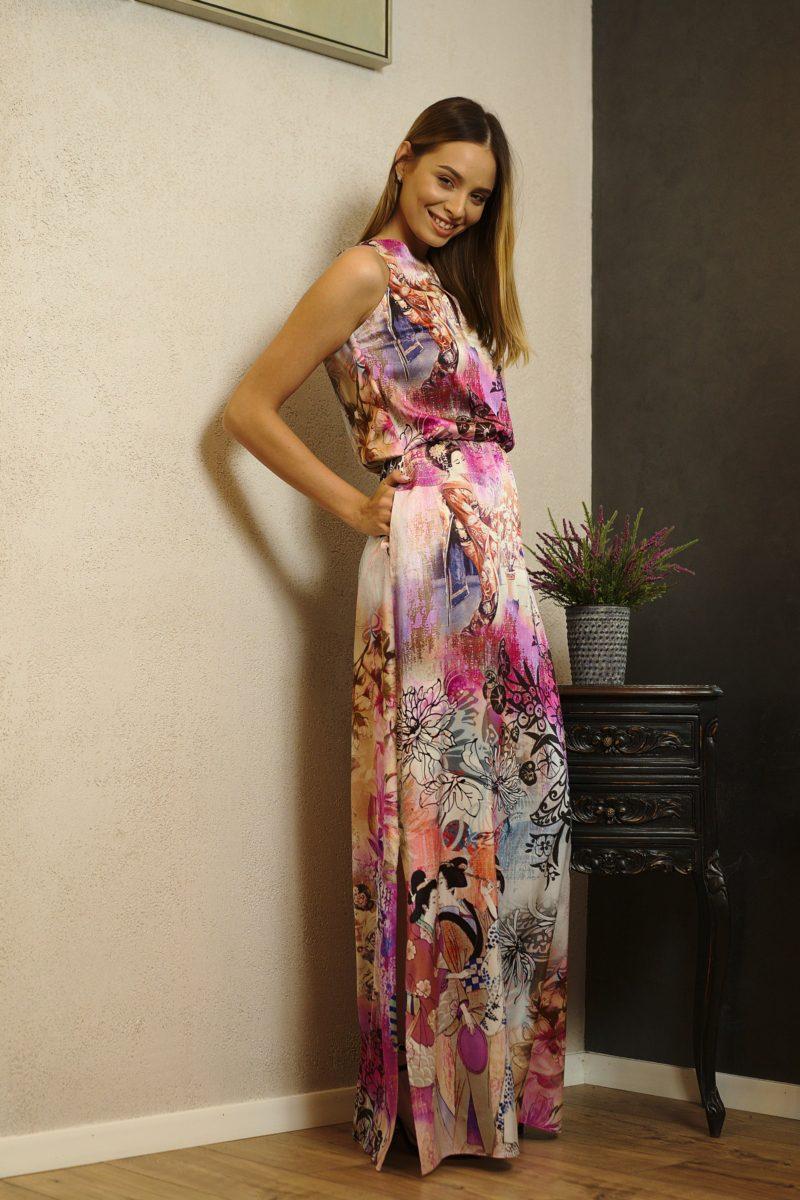 Rochie dreaptă lungă din mătase naturală I