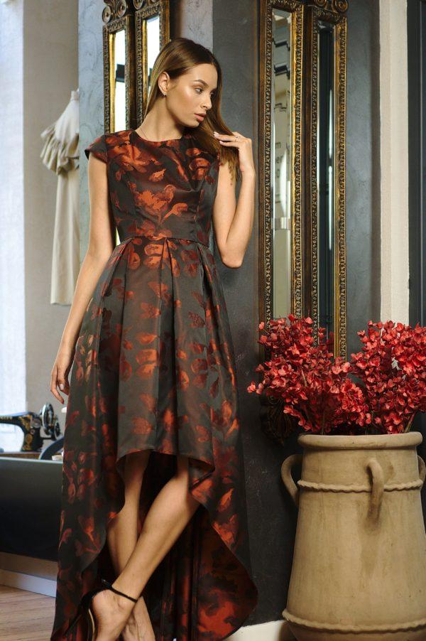 Asymmetrical long brocade dress