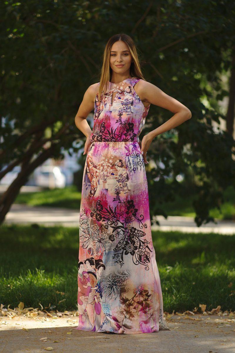Rochie lungp dreaptă din mătase naturală VI