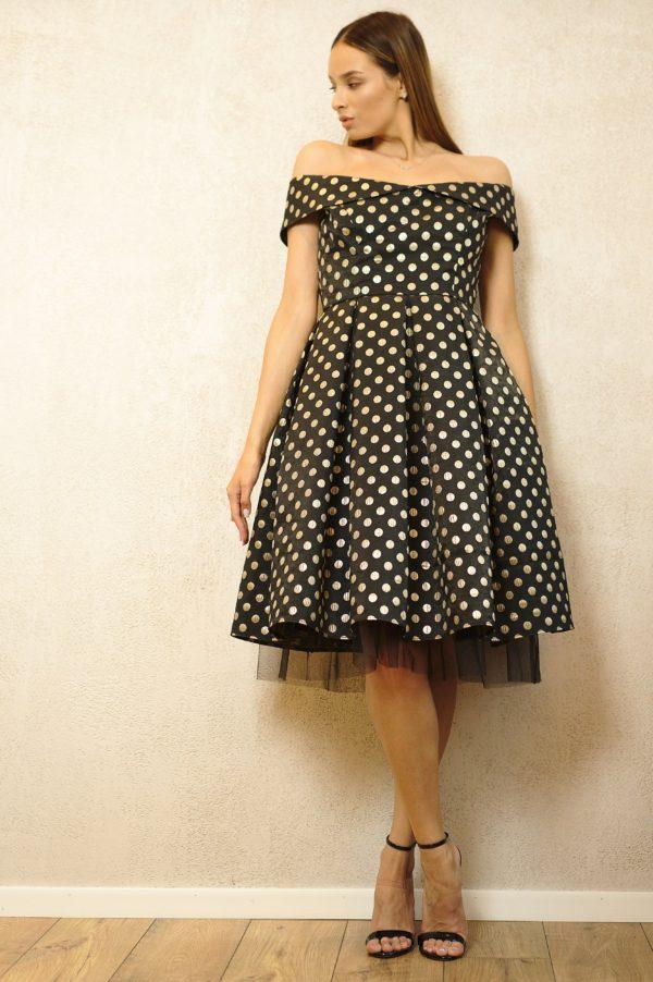 Tulle and brocade midi dress