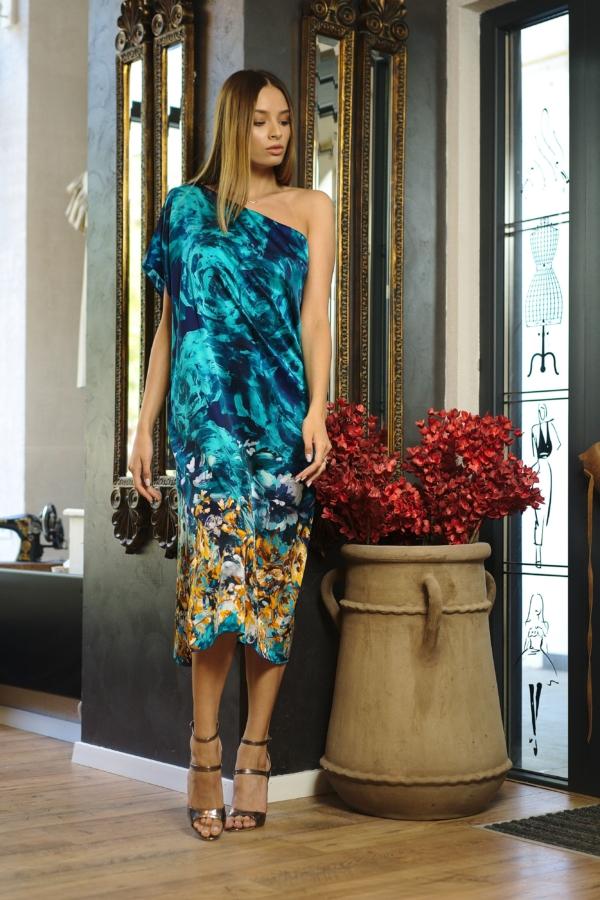 Turquoise natural silk midi dress