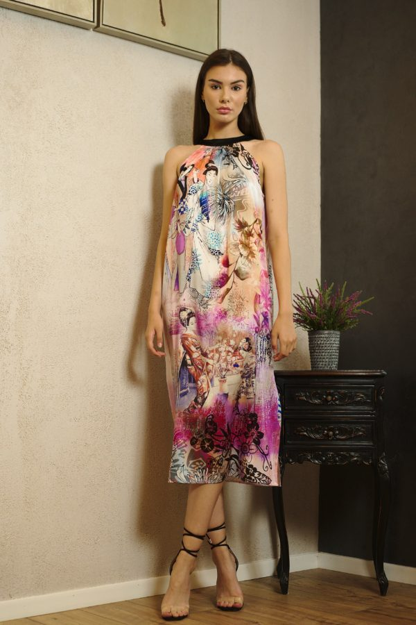 Midi natural silk dress