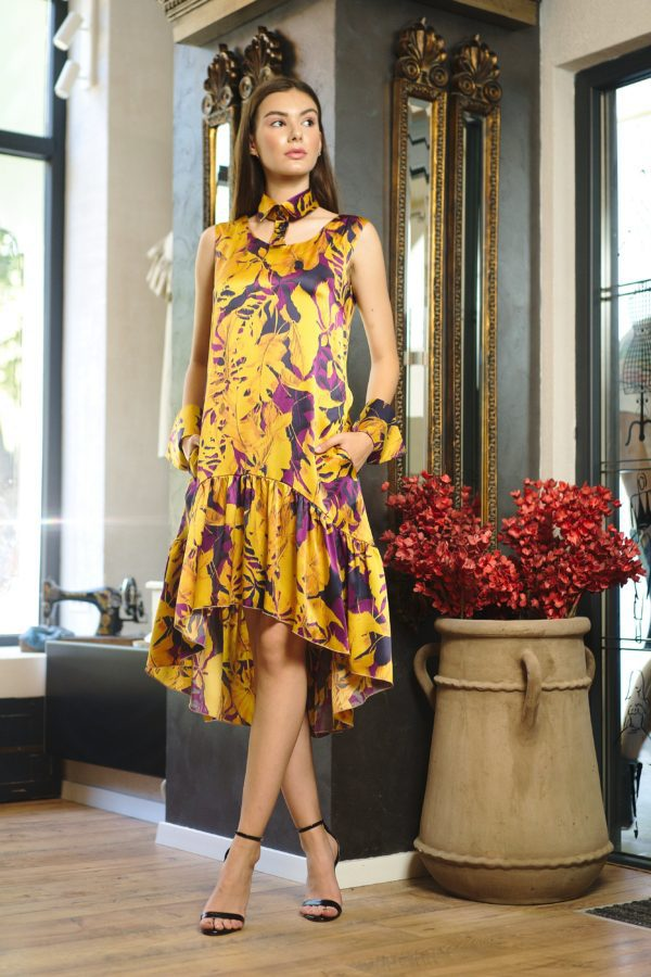 Asymmetrical natural silk midi dress