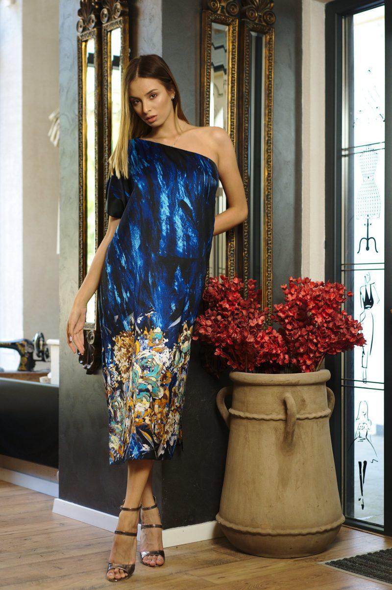 Blue printed natural silk midi dress
