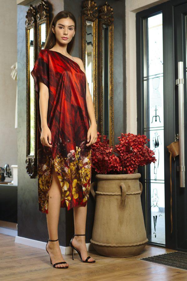 Red printed natural silk midi dress