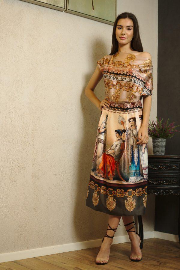 Rochie midi din mătase naturală imprimată