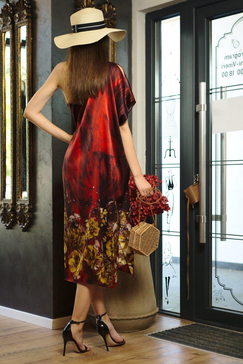 Rochie midi din mătase naturală imprimată II