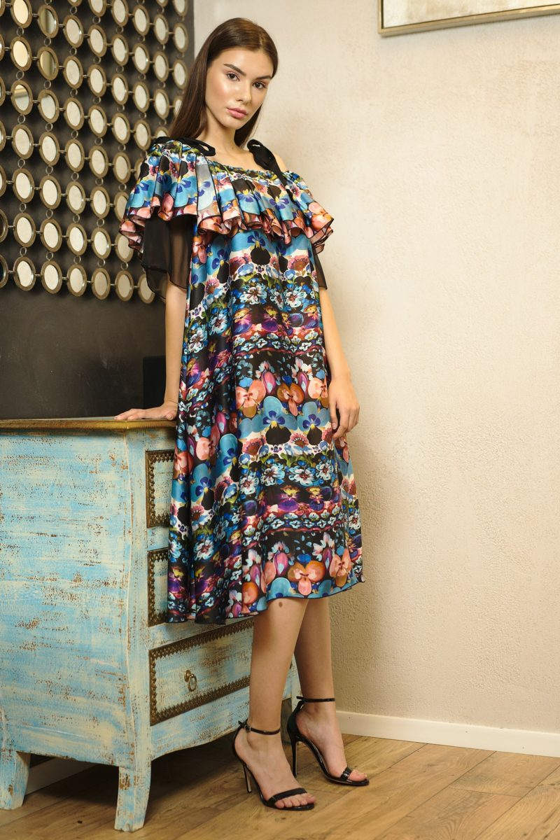 Rochie midi semicloș din mătase naturală I