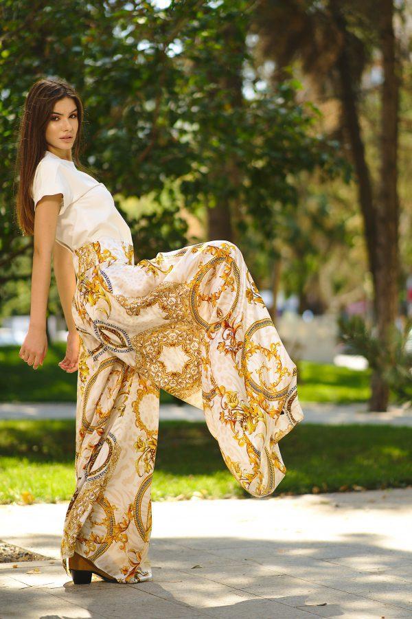 Natural printed silk pants