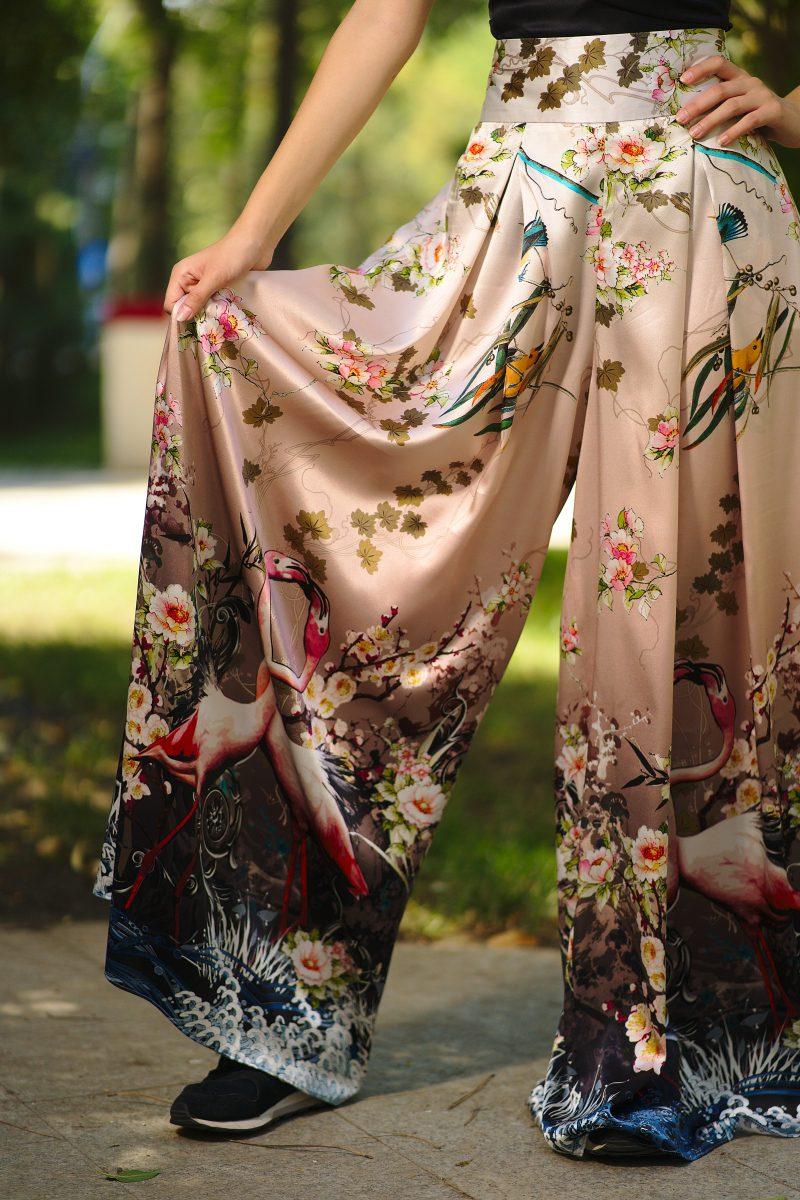Pantaloni din mătase naturală imprimată I