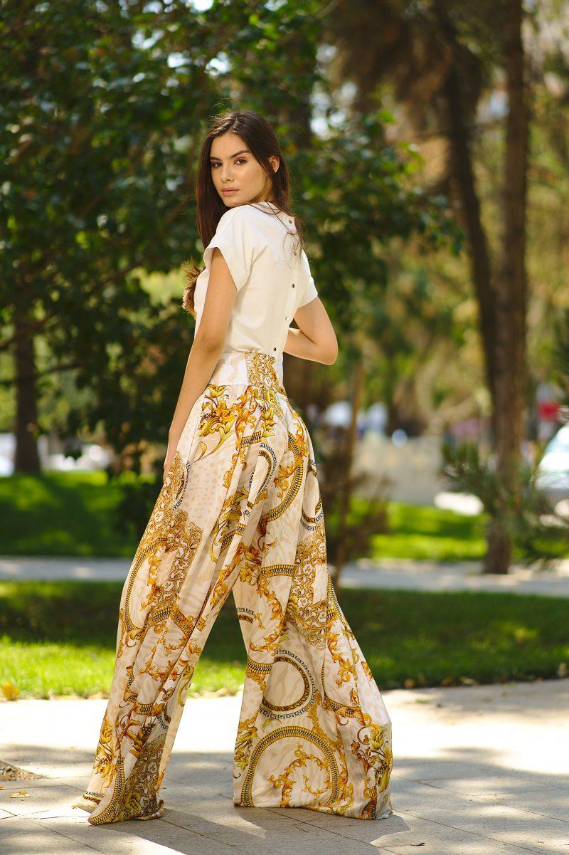 Pantaloni din mătase naturală imprimată II