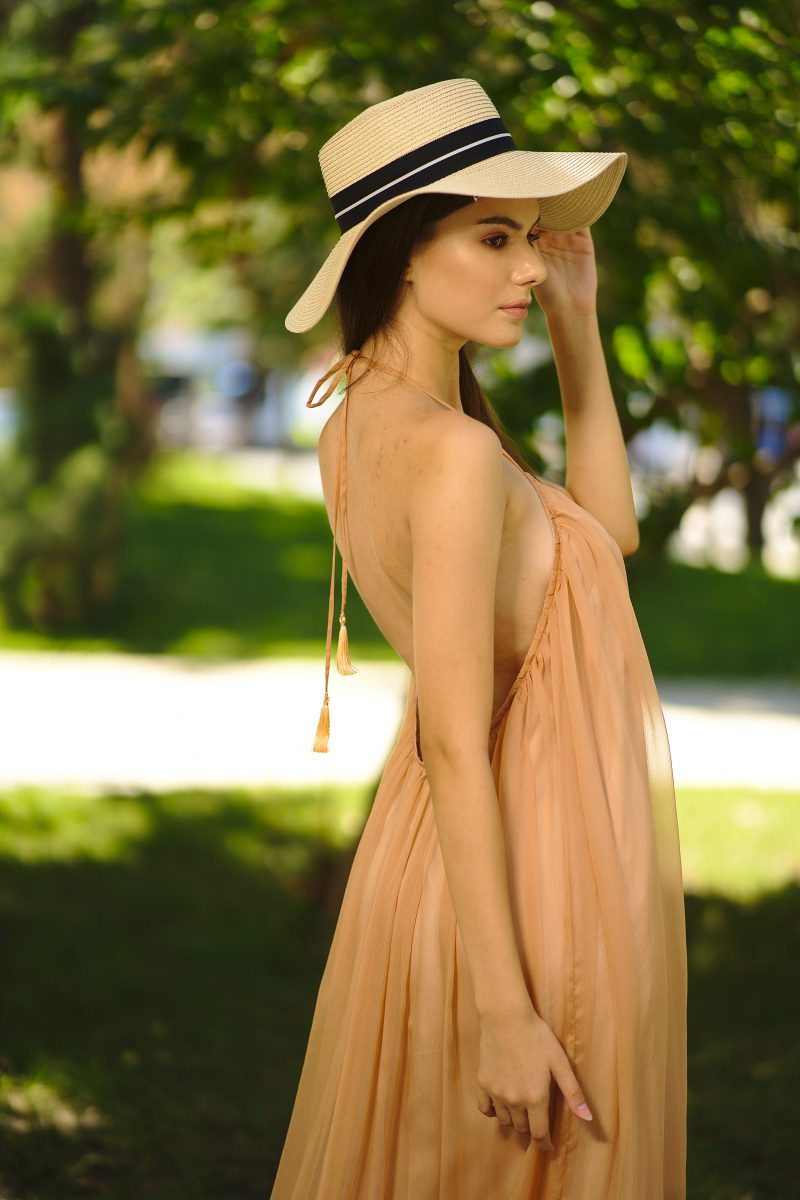 Asymmetrical nude muslin dress