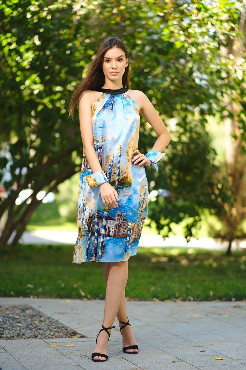 Rochie din mătase naturală cu guler rotund III