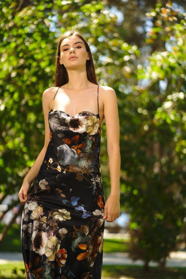 Straight cut natural silk dress