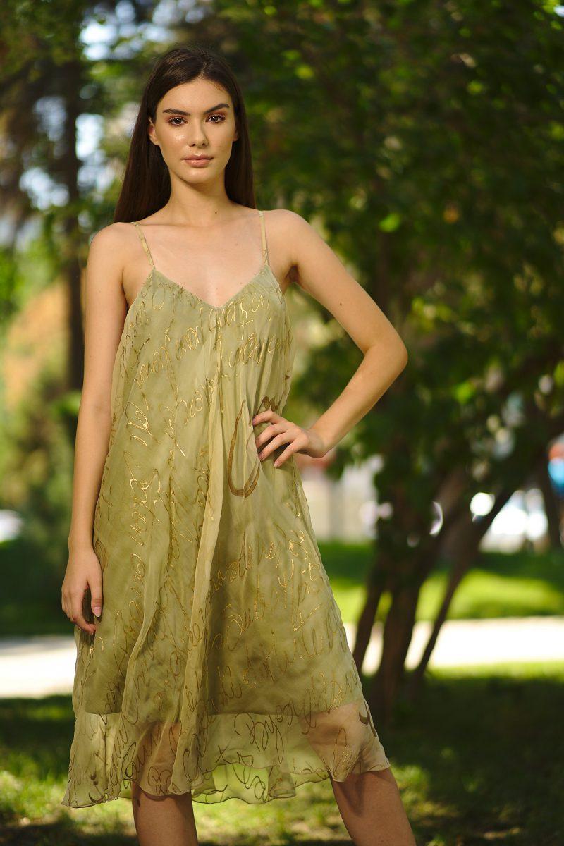Straight cut silk veil dress
