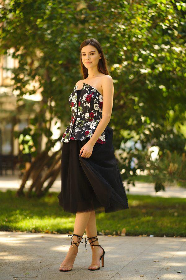 Brocade and tulle midi dress