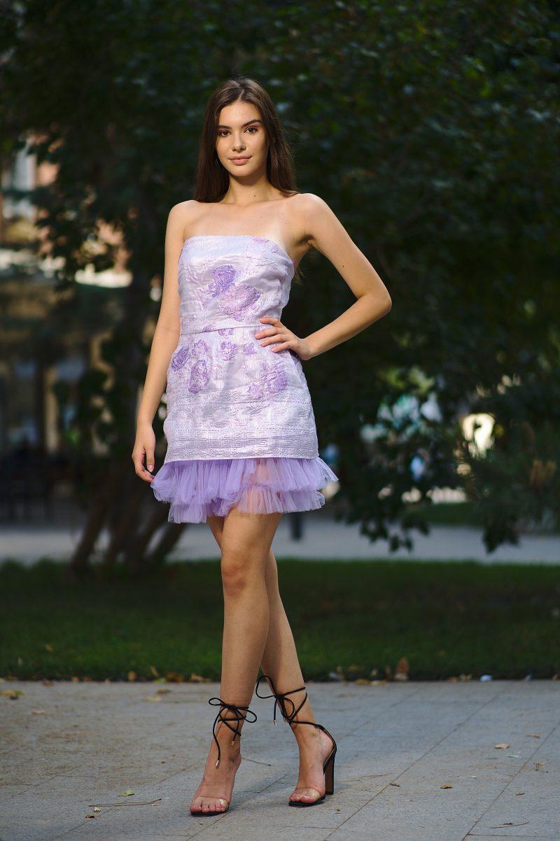 Short brocade tulle dress