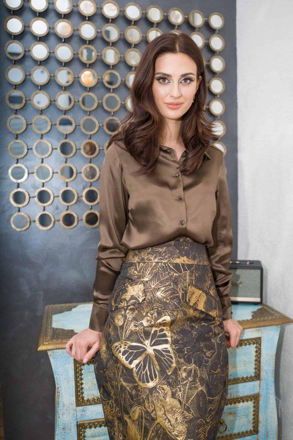 Conical silk brocade skirt