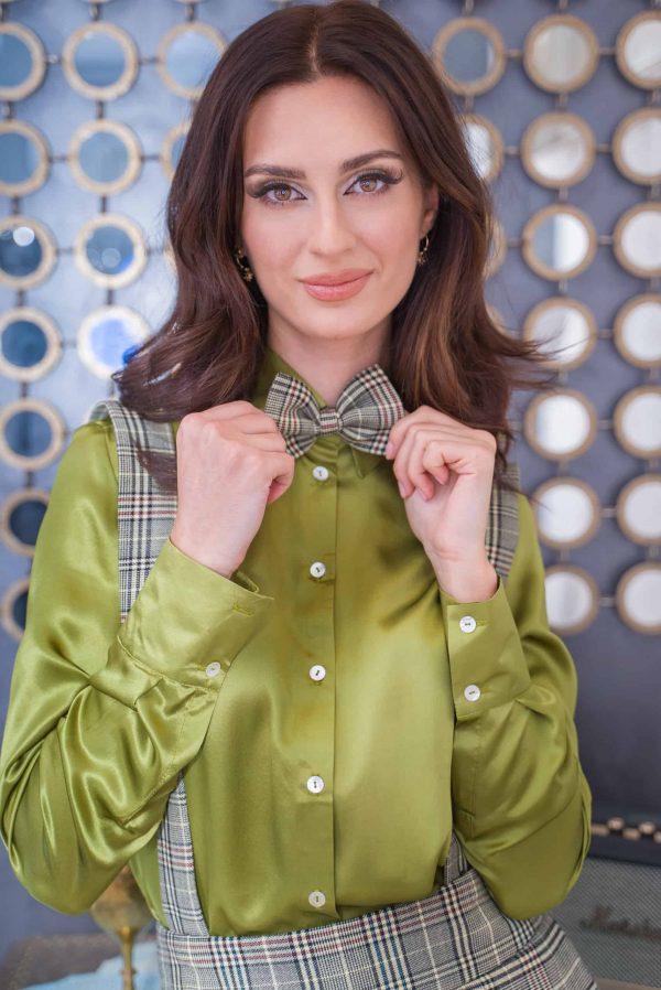Green natural silk shirt