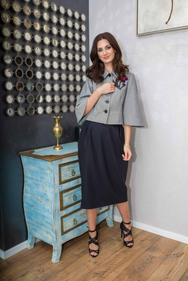Conical skirt of black wool