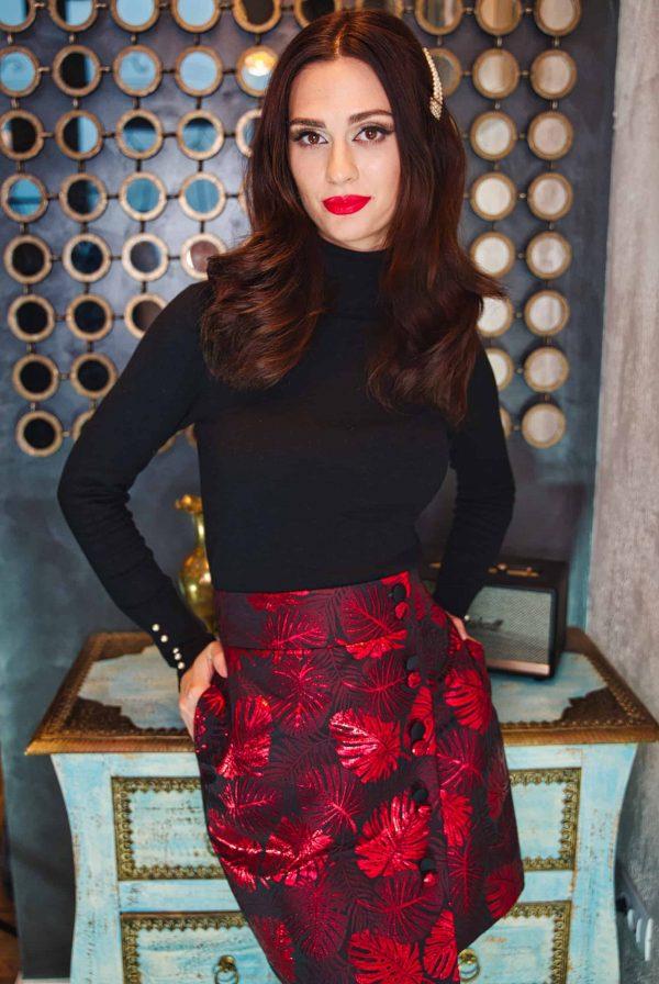 Red silk brocade skirt