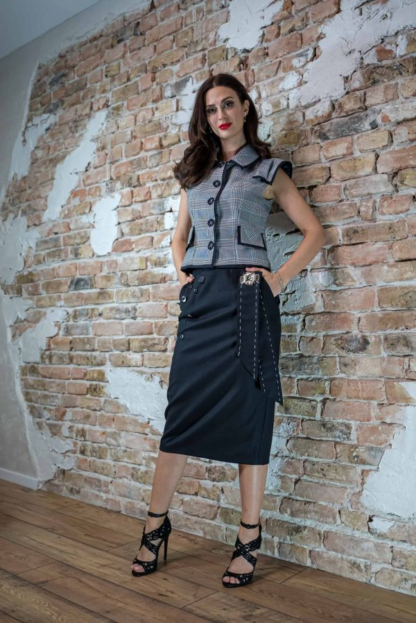 Black conical skirt of wool and cashmere