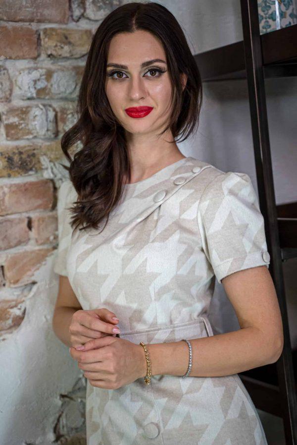 Natural silk and cashmere midi dress