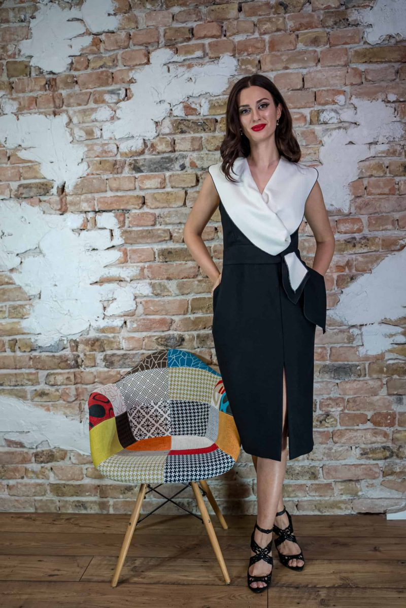Wool and cashmere conical dress