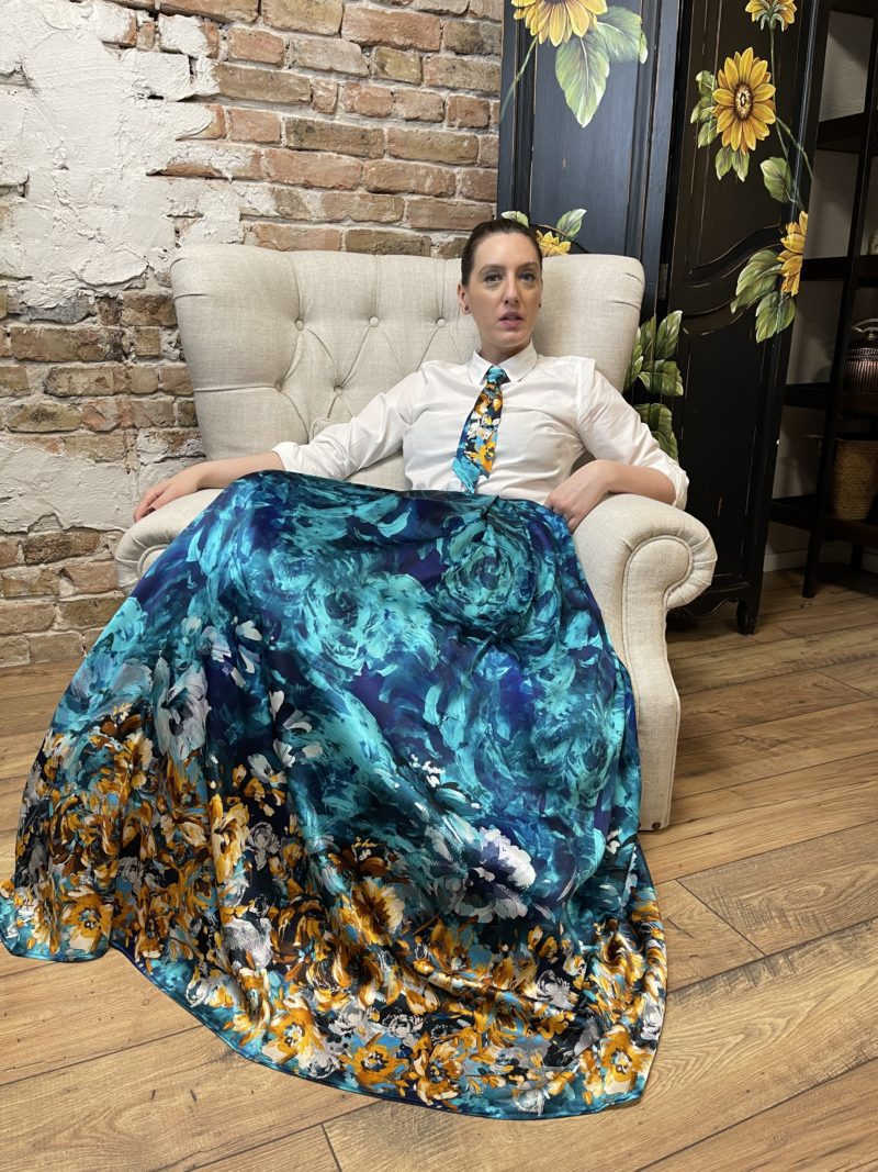 Turquoise maxi skirt of printed natural silk